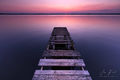 dilapidated, broken, pier, pastel, shore, wooden planks, water, missing planks, character, aged, horizon, afterglow, sky, calm