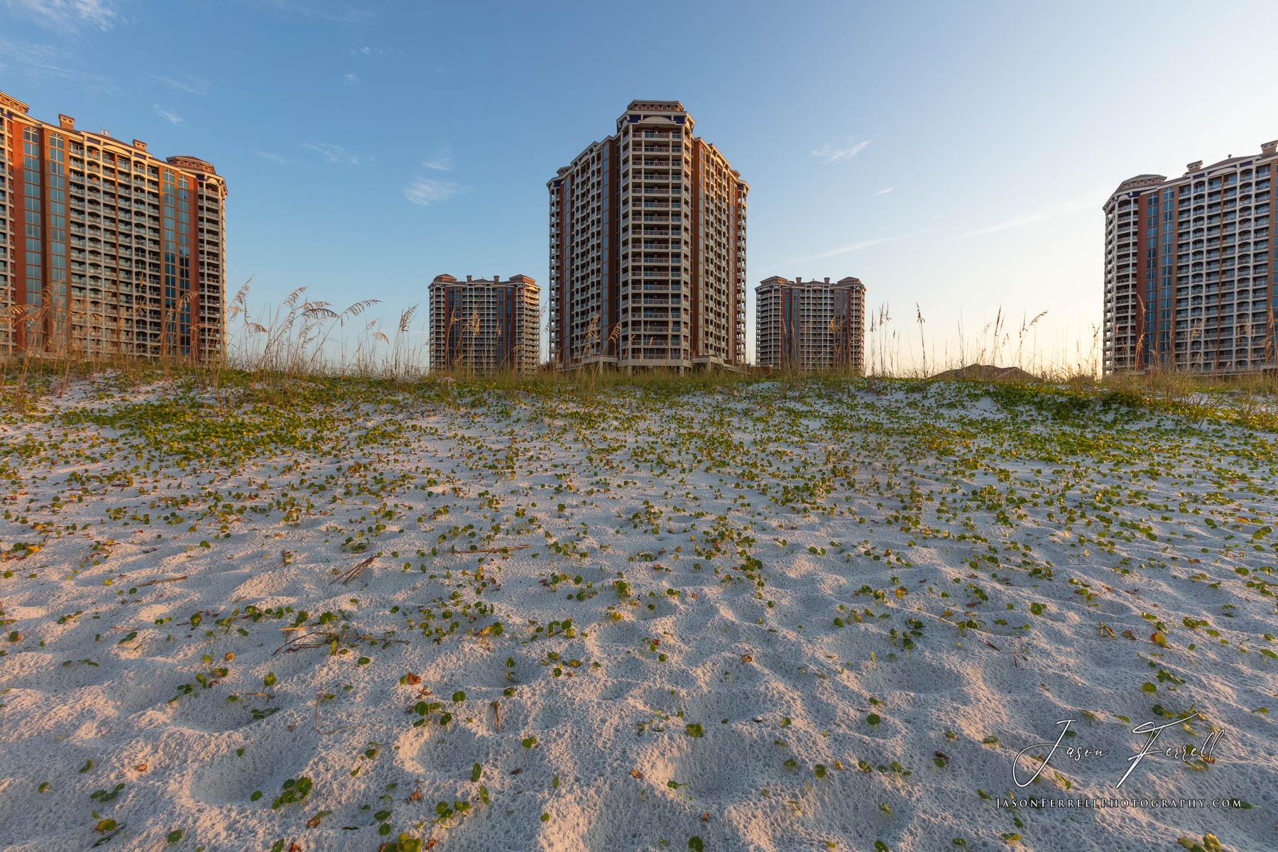 portofino island resort, sunrise, beach, towers, photo
