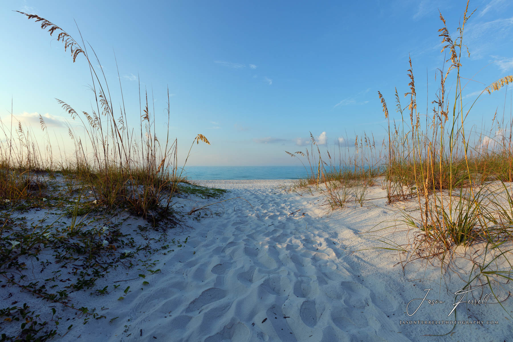 The early morning welcomes beach goers along this sand beach path.