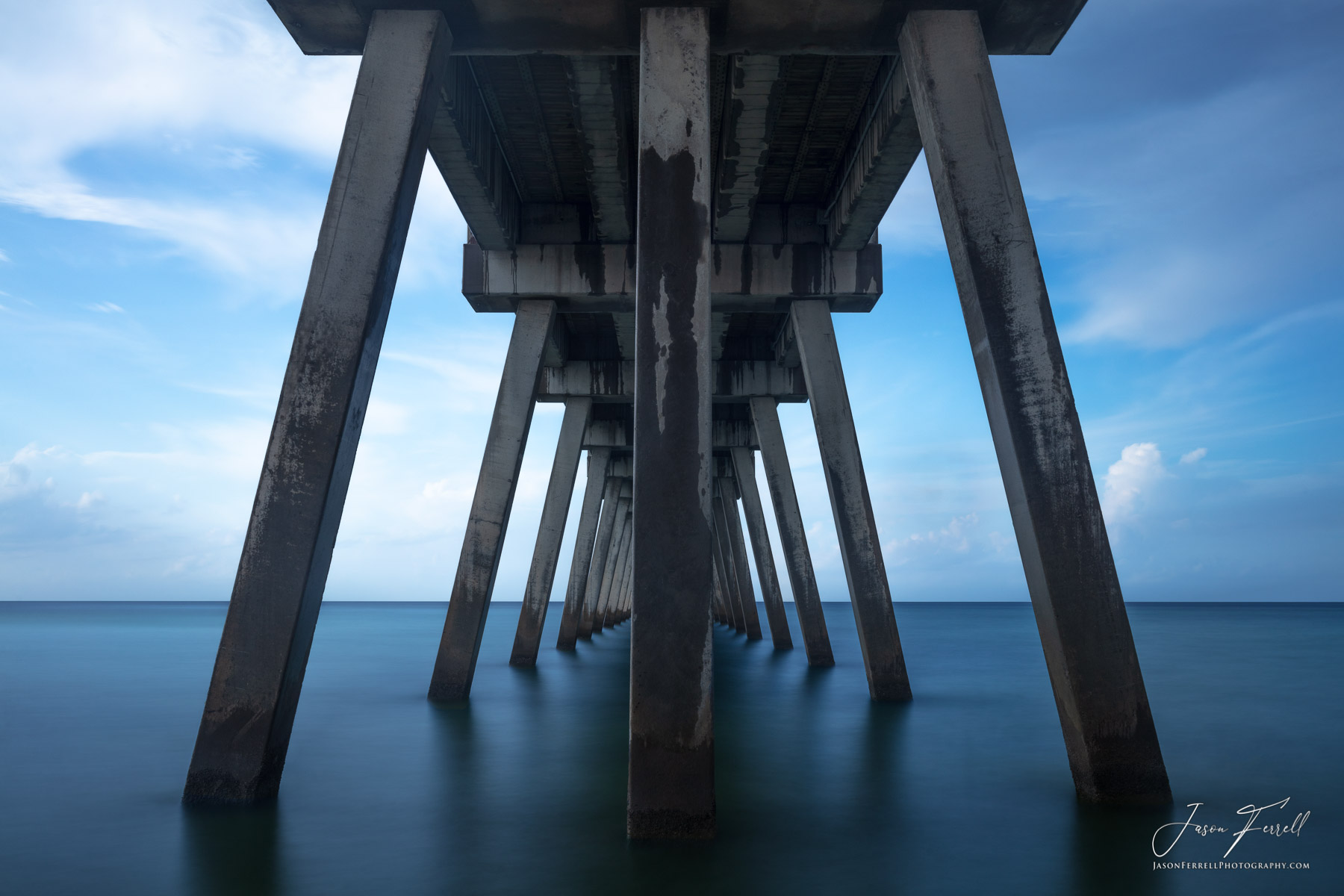 beach, pier, long, blue, white, navarre, santa rosa island, photo