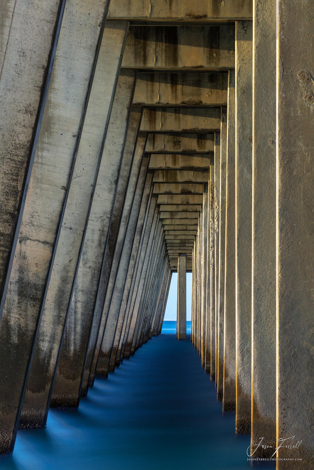 tunnel, vision, navarre, beach, florida, blue, pillars, santa rosa island