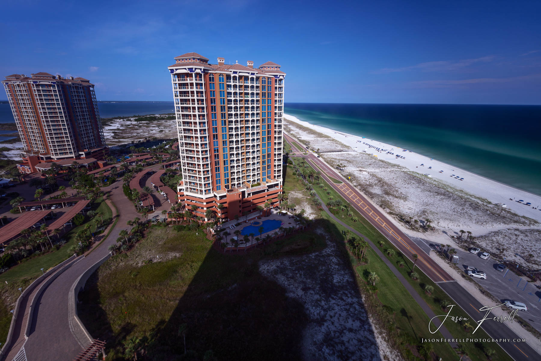 portofino island resort, beach, towers, ocean, water, gulf of mexico, photo