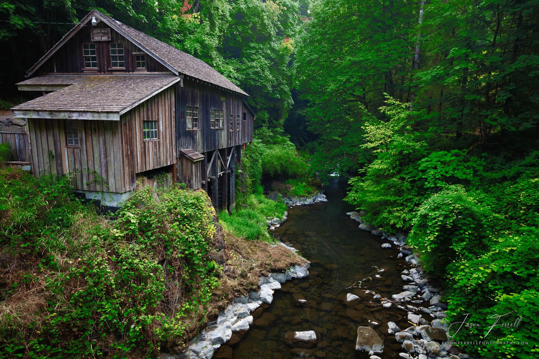 cedar creek grist mill, washington, water, river, wind, flow, wheel, photo