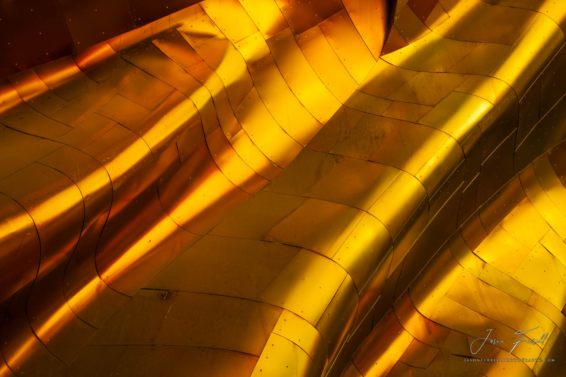 golden waves, mopop, museum, frank gehry, building, metal, seattle, washington, architecture, abstract, photo