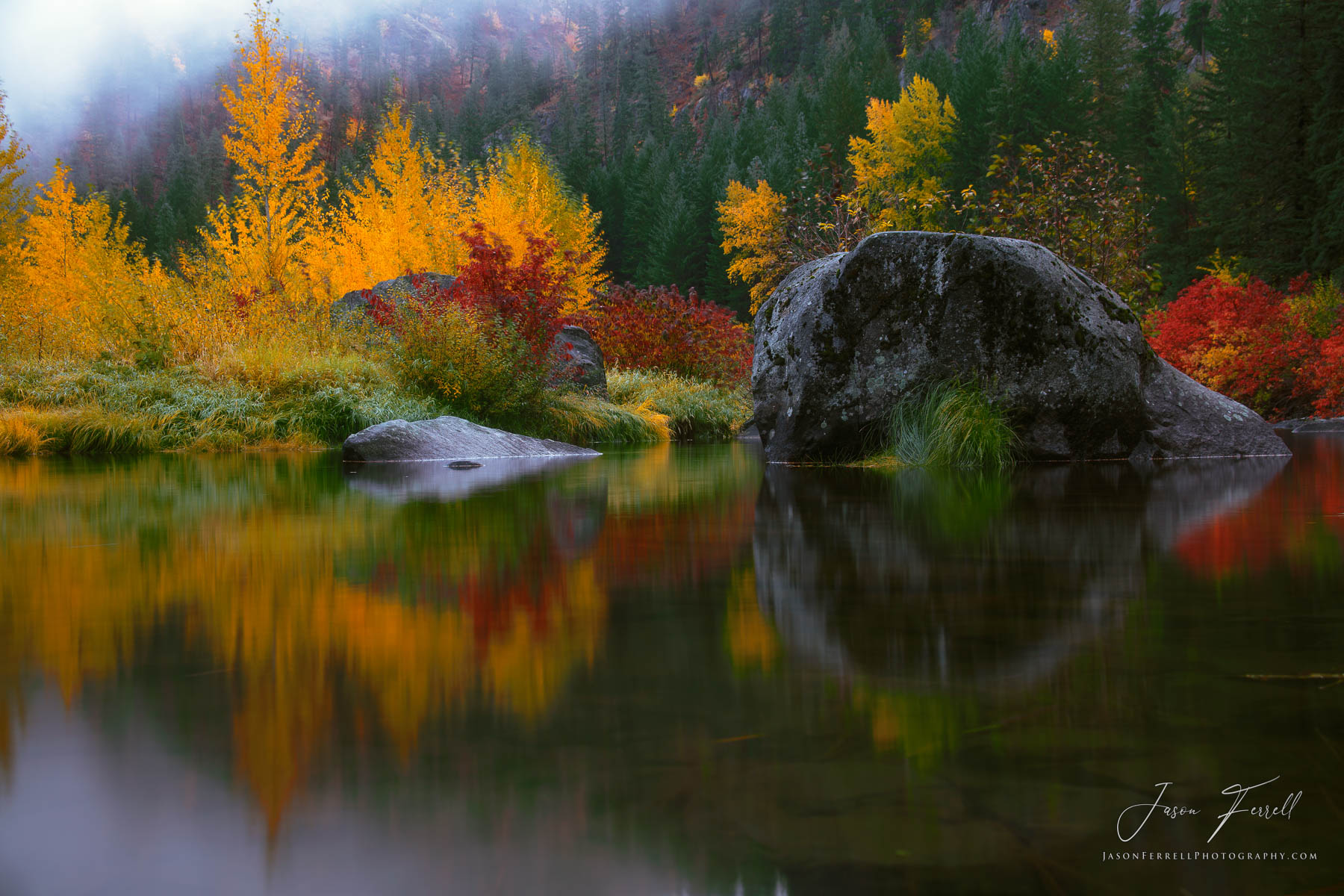 mirror in the fall, autumn, leaf, color trees, shrubs, green, red, orange, yellow, leavenworth, washington, photo