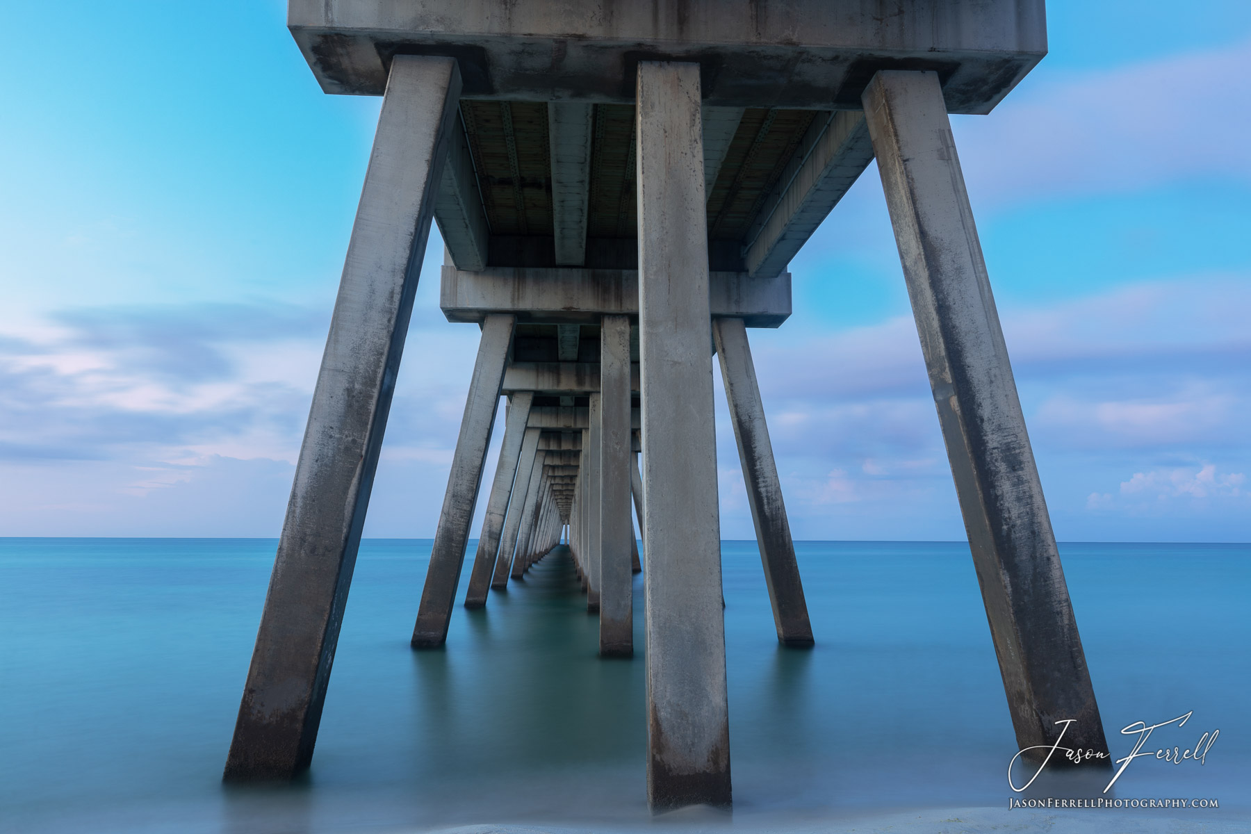 pier, water, ocean, blue, florida, santa rosa island, pillars, passageway, pink, photo