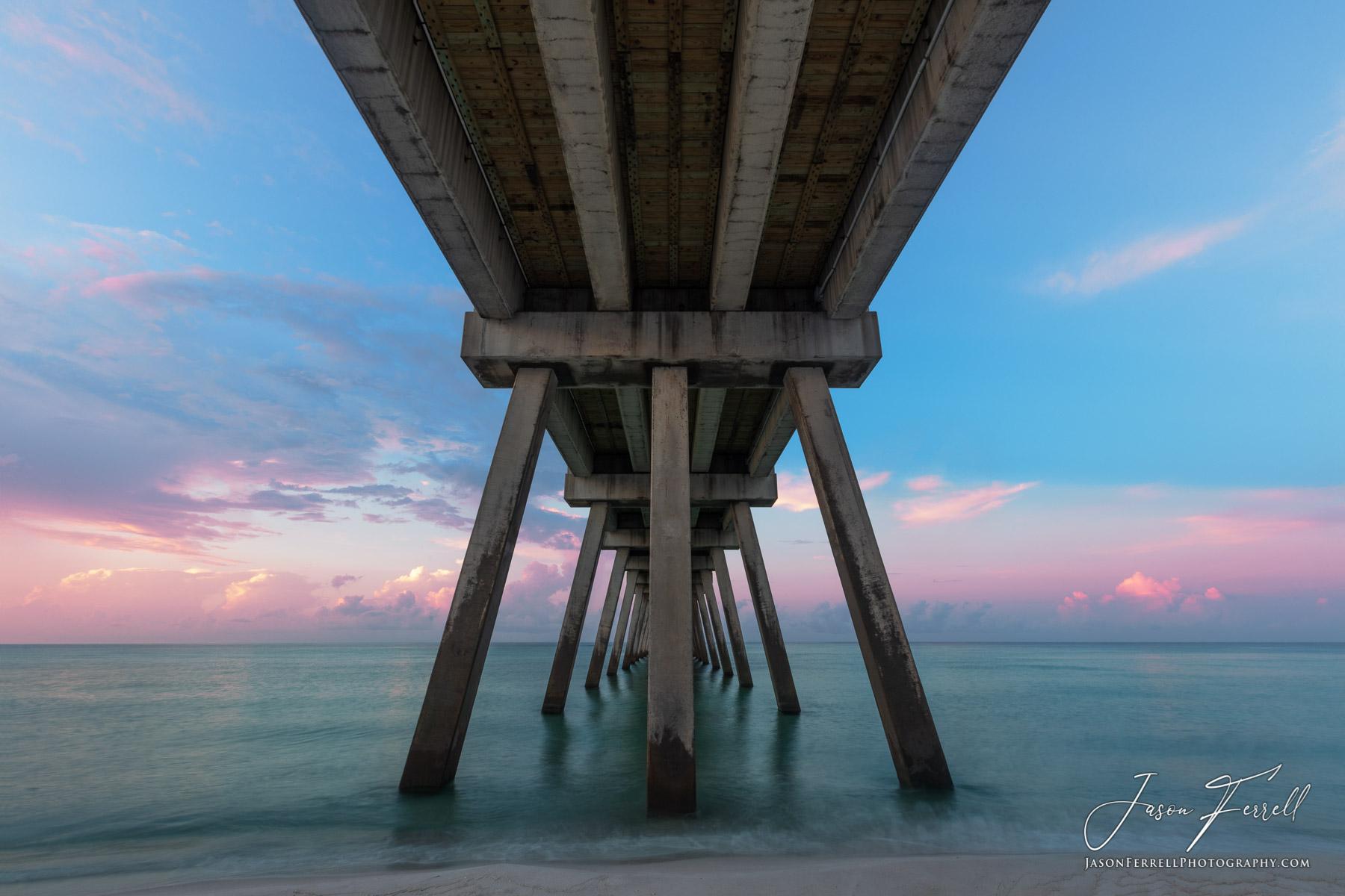 pier, beach, sunrise, pastels, pink, blue, green, under, beneath, santa rosa island, photo