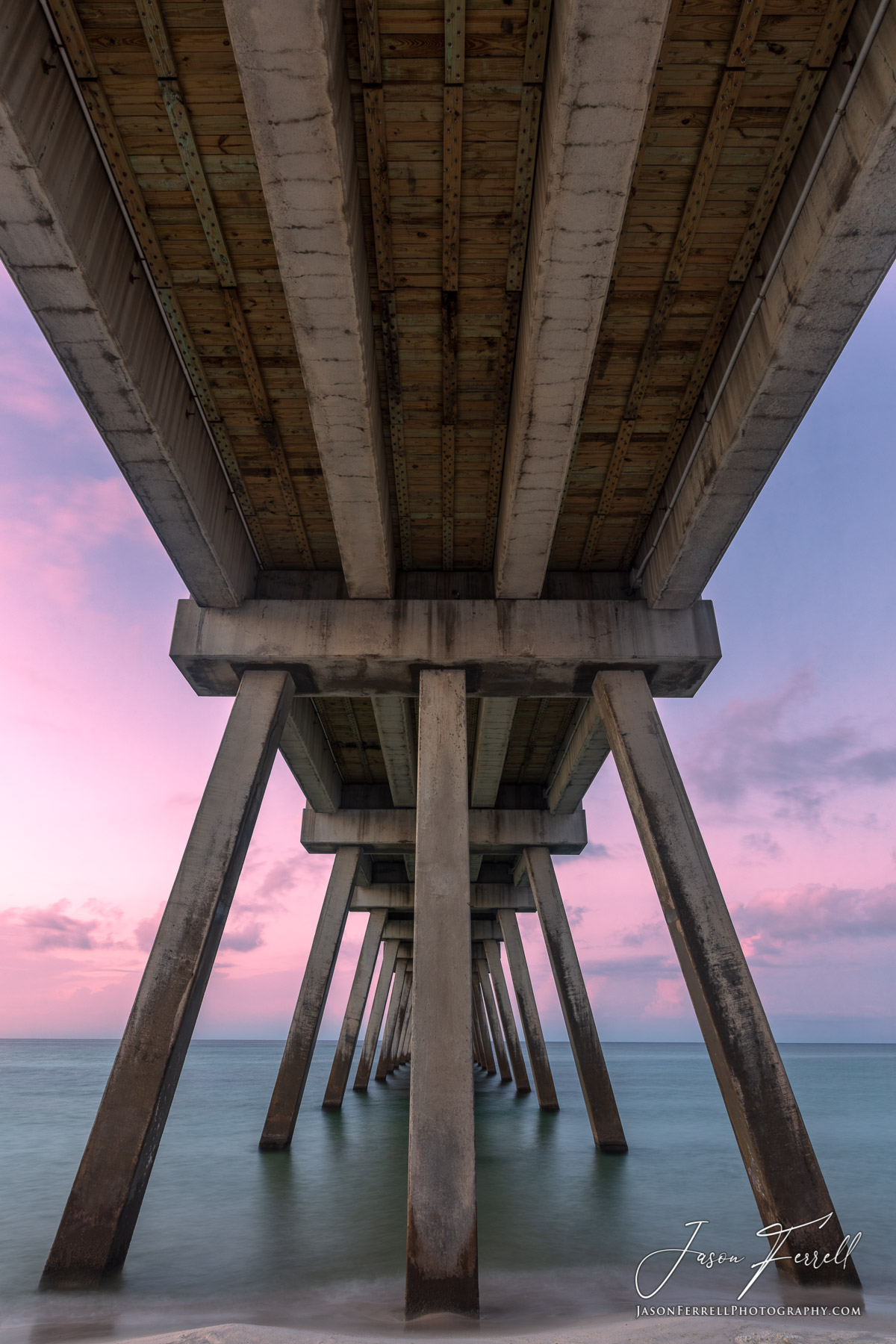ocean, sea, pier, pillars, sunrise, florida, santa rosa island, sentinel, photo