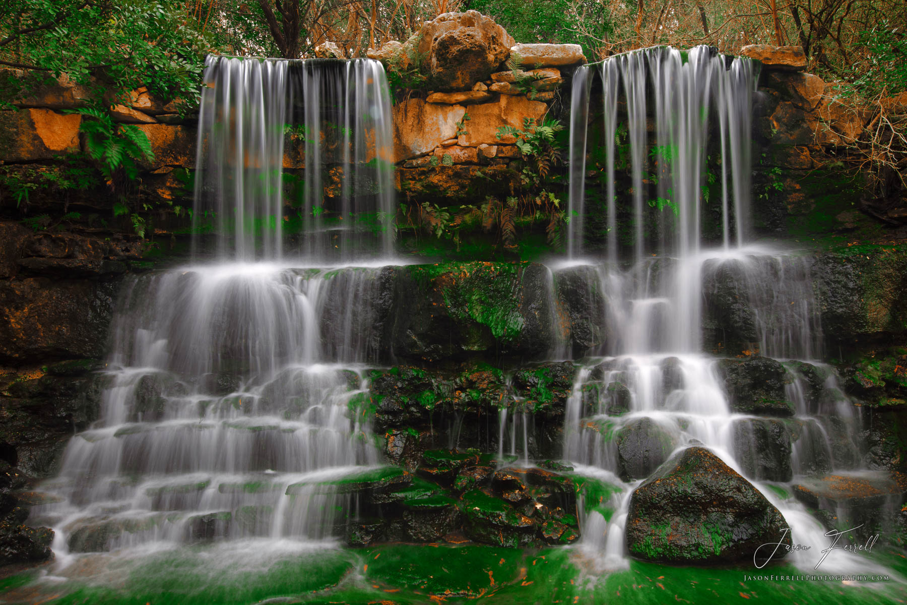 twin falls, waterfall, austin, texas, zilker park, garden, photo